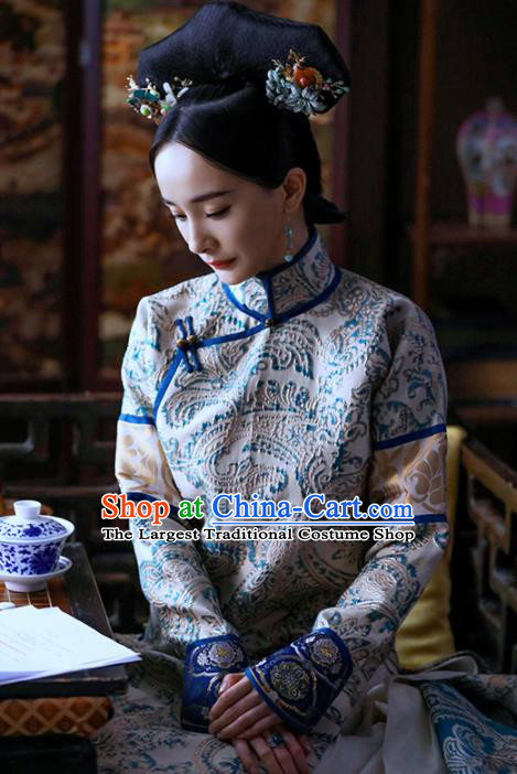 Chinese Drama Traditional Ancient Qing Dynasty Manchu Imperial Empress Replica Costumes for Women