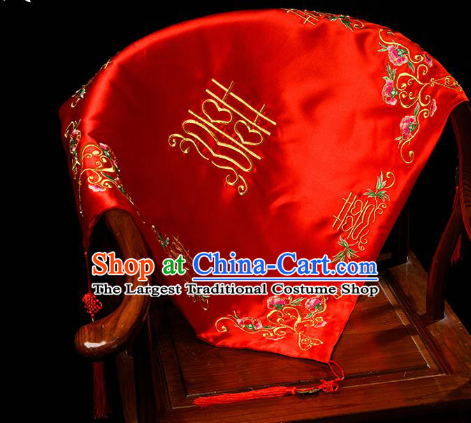 Chinese Traditional Wedding Embroidered Red Veil Cover Ancient Bride Headdress for Women