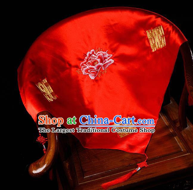 Chinese Traditional Wedding Embroidered Peony Red Veil Cover Ancient Bride Headdress for Women