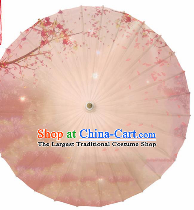 Chinese Traditional Printing Pink Oil Paper Umbrella Artware Paper Umbrella Classical Dance Umbrella Handmade Umbrellas