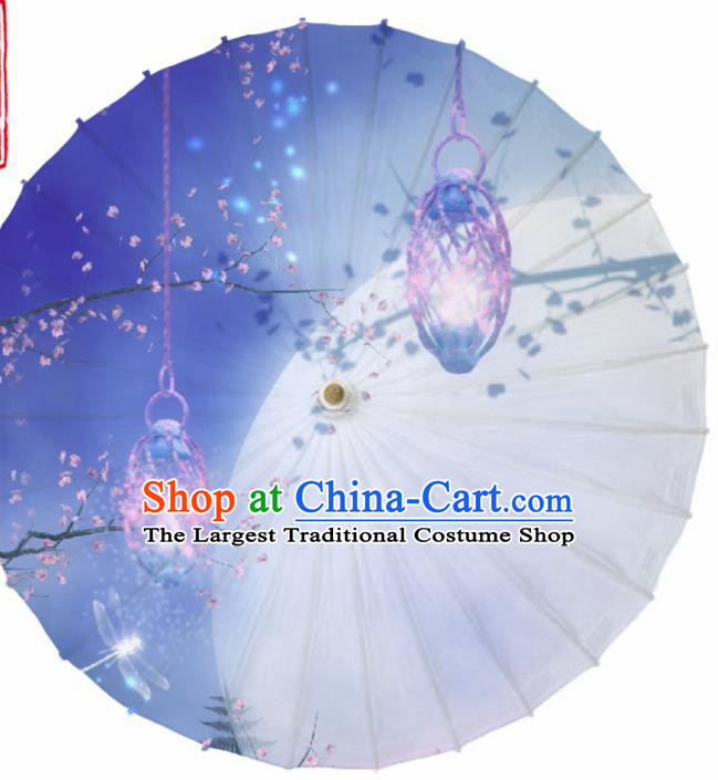 Chinese Traditional Printing Lantern Blue Oil Paper Umbrella Artware Paper Umbrella Classical Dance Umbrella Handmade Umbrellas