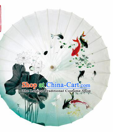 Chinese Traditional Printing Lotus Fishes Oil Paper Umbrella Artware Paper Umbrella Classical Dance Umbrella Handmade Umbrellas