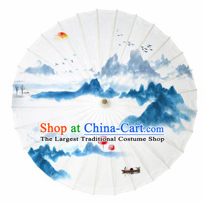 Chinese Traditional Printing Sunrise Scenery Oil Paper Umbrella Artware Paper Umbrella Classical Dance Umbrella Handmade Umbrellas