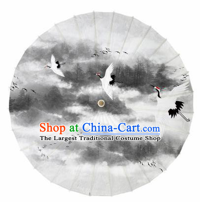 Chinese Traditional Printing Crane Grey Oil Paper Umbrella Artware Paper Umbrella Classical Dance Umbrella Handmade Umbrellas