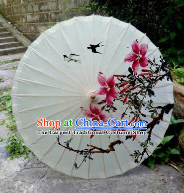Chinese Printing Flowers White Oil Paper Umbrella Artware Paper Umbrella Traditional Classical Dance Umbrella Handmade Umbrellas