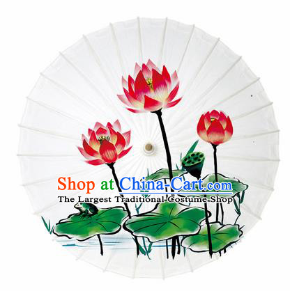 Chinese Printing Lotus White Oil Paper Umbrella Artware Paper Umbrella Traditional Classical Dance Umbrella Handmade Umbrellas