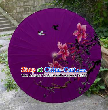Chinese Printing Flowers Purple Oil Paper Umbrella Artware Paper Umbrella Traditional Classical Dance Umbrella Handmade Umbrellas
