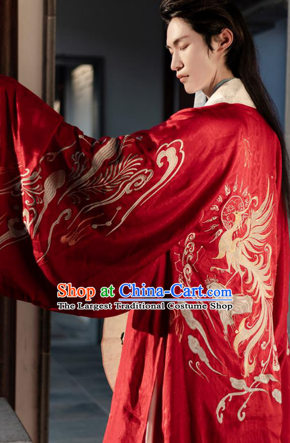 Chinese Ancient Prince Red Costumes Traditional Ming Dynasty Nobility Childe Clothing for Men