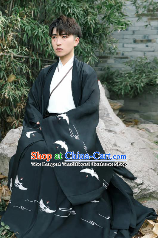 Chinese Ancient Scholar Black Costumes Traditional Jin Dynasty Clothing for Men for Women