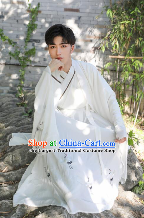 Chinese Ancient Scholar White Costumes Traditional Jin Dynasty Clothing for Men for Women