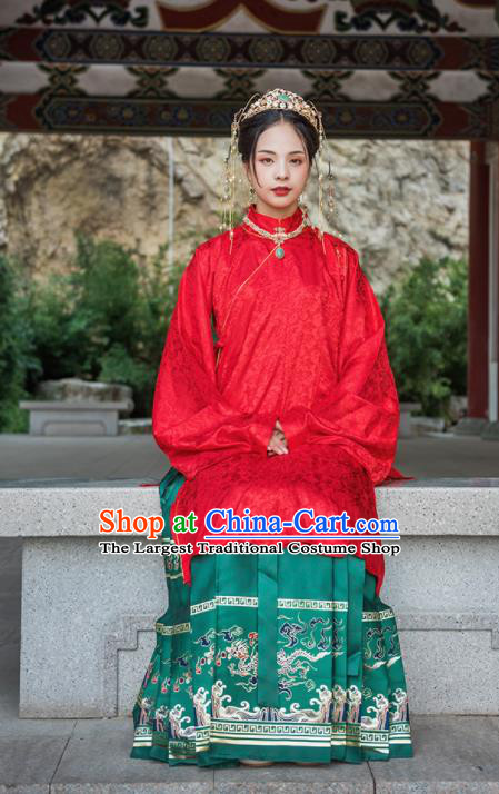 Chinese Drama Ancient Nobility Lady Red Blouse and Green Skirt Traditional Ming Dynasty Court Costumes for Women