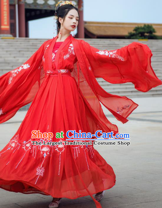 Chinese Drama Ancient Bride Wedding Red Hanfu Dress Traditional Tang Dynasty Princess Costumes for Women
