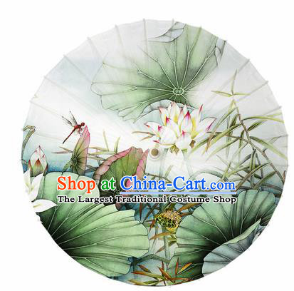 Chinese Traditional Printing Lotus Leaf Oil Paper Umbrella Artware Paper Umbrella Classical Dance Umbrella Handmade Umbrellas