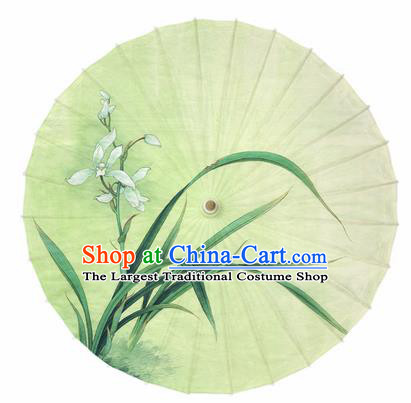 Chinese Traditional Printing Orchid Yellow Oil Paper Umbrella Artware Paper Umbrella Classical Dance Umbrella Handmade Umbrellas