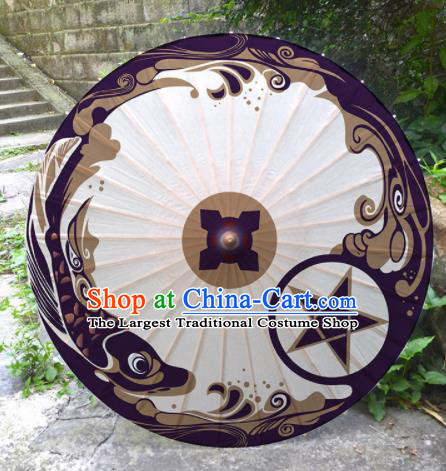 Chinese Traditional Onmyoji Purple Oil Paper Umbrella Artware Paper Umbrella Classical Dance Umbrella Handmade Umbrellas
