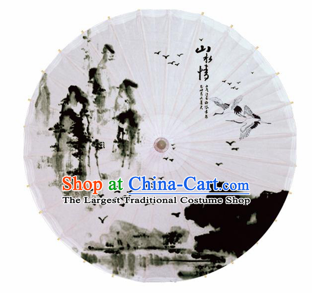 Chinese Artware Paper Umbrella Traditional Ink Painting Crane Oil Paper Umbrella Classical Dance Umbrella Handmade Umbrellas