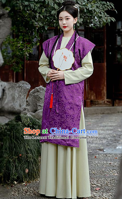 Chinese Ancient Drama Dream of the Red Chamber Costumes Traditional Ming Dynasty Nobility Lady Purple Dress for Women
