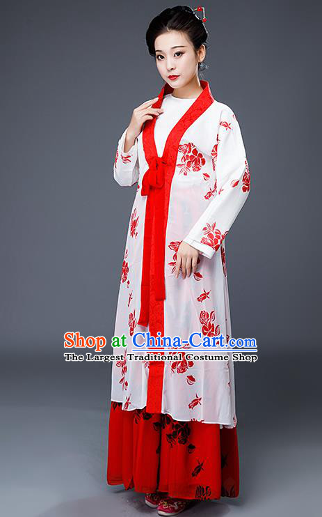 Chinese Drama Maidservant Costumes Ancient Traditional Ming Dynasty Nobility Lady White Hanfu Dress for Women