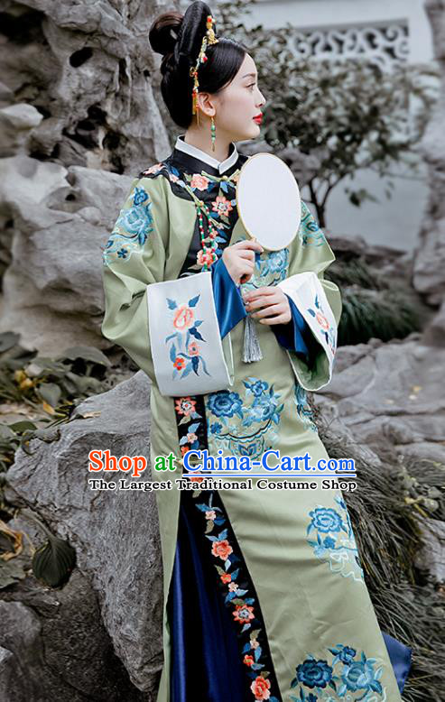 Chinese Drama Ancient Imperial Consort Costumes Traditional Qing Dynasty Court Lady Green Dress for Women