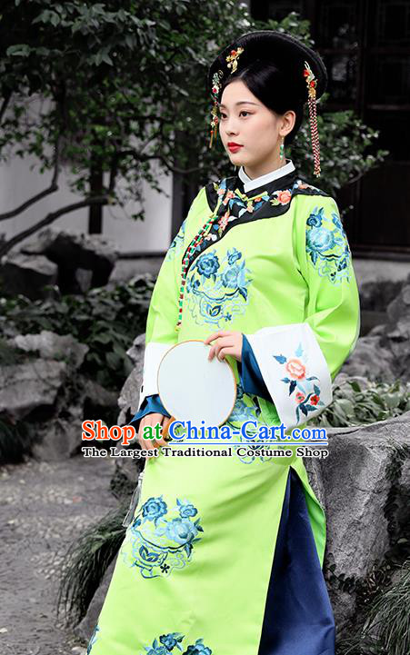 Chinese Drama Ancient Manchu Palace Lady Costumes Traditional Qing Dynasty Court Maid Green Dress for Women