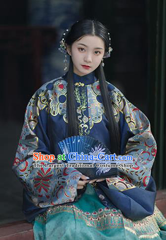 Chinese Drama Ancient Hanfu Navy Blouse Traditional Ming Dynasty Princess Costumes for Women