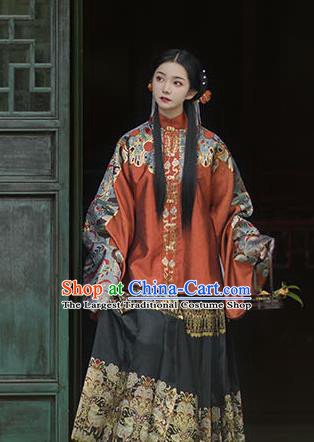 Chinese Drama Ancient Hanfu Orange Blouse Traditional Ming Dynasty Princess Costumes for Women