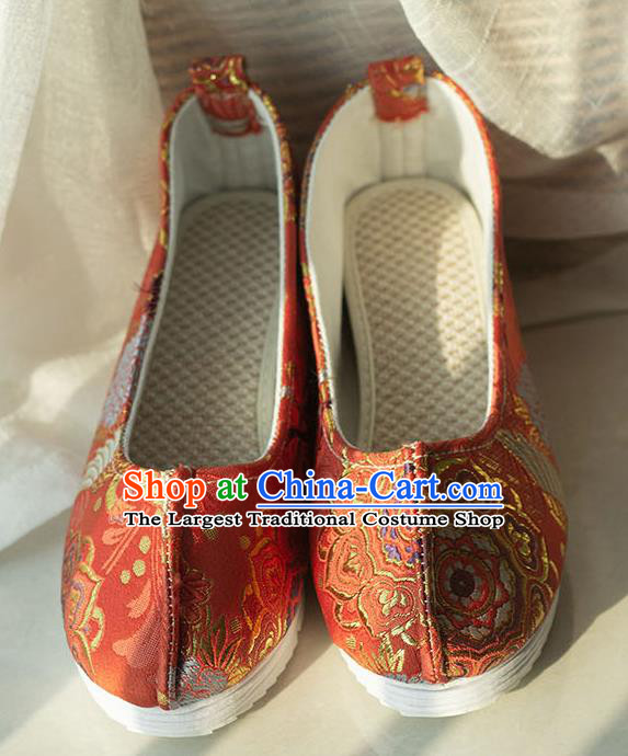Asian Chinese Traditional Hanfu Orange Brocade Shoes Ancient Princess Shoes Handmade Shoes for Women