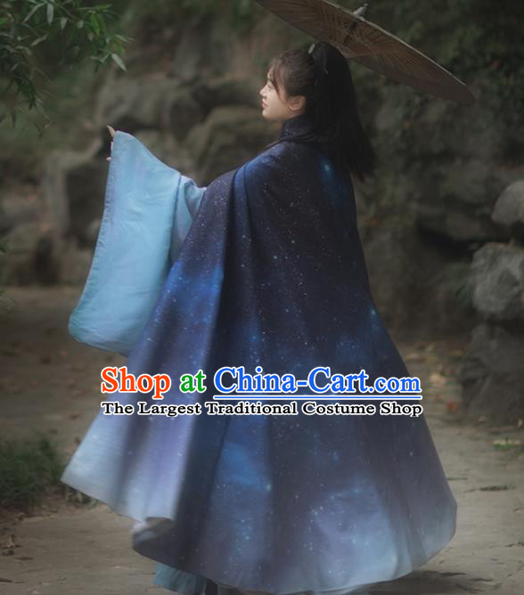 Chinese Drama Ancient Hanfu Blue Cloak Traditional Ming Dynasty Princess Costume for Women