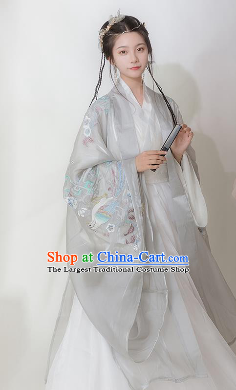 Chinese Ancient Hanfu Embroidered Grey Cardigan Traditional Ming Dynasty Princess Costumes for Women