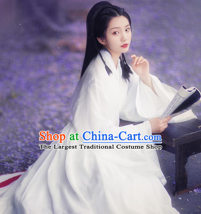 Chinese Ancient Female Swordsman White Hanfu Dress Traditional Jin Dynasty Court Princess Costumes for Women