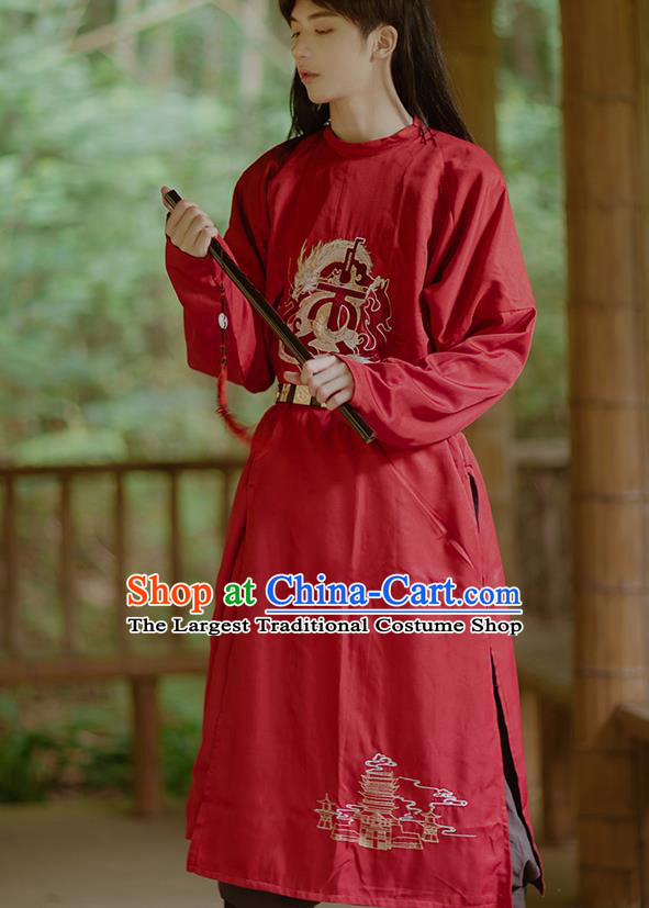 Chinese Ancient Swordsman Red Costumes Traditional Tang Dynasty Imperial Bodyguard Clothing for Men