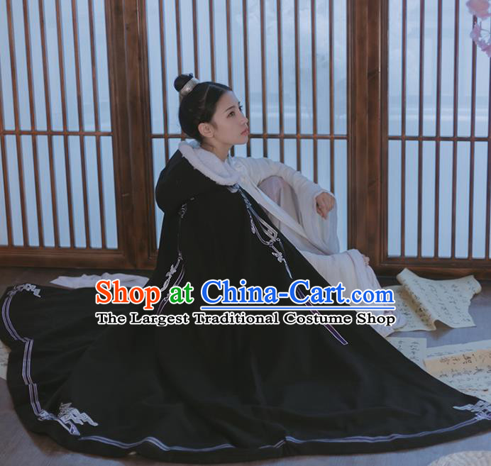 Chinese Ancient Female Swordsman Hanfu Black Cape Traditional Song Dynasty Palace Lady Costume for Women