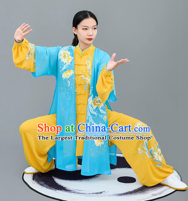 Chinese Traditional Tai Chi Performance Embroidered Epiphyllum Yellow Costumes Martial Arts Outfits for Women