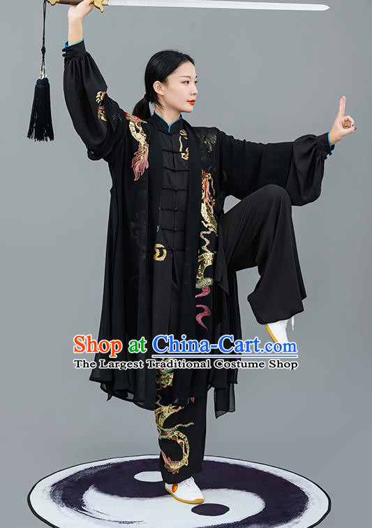 Chinese Traditional Tai Chi Performance Embroidered Black Costumes Martial Arts Outfits for Women