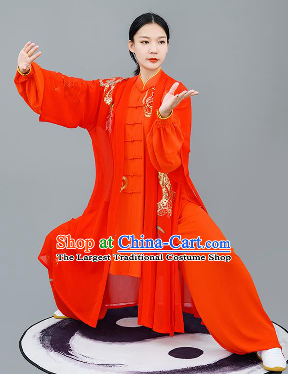 Chinese Traditional Tai Chi Performance Embroidered Red Costumes Martial Arts Outfits for Women