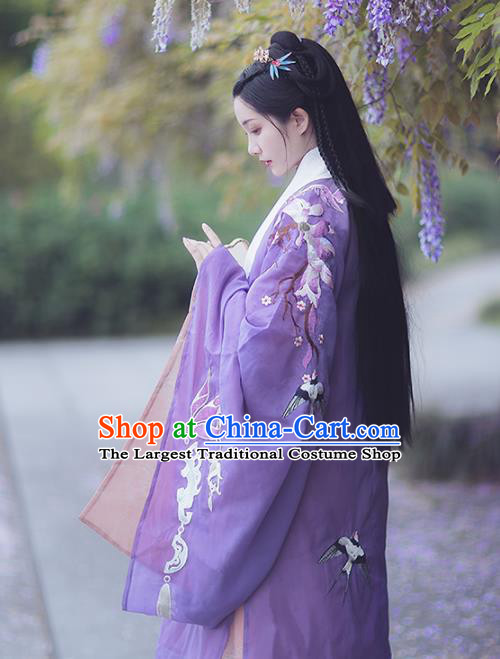 Chinese Ancient Imperial Consort Purple Hanfu Cloak Traditional Ming Dynasty Court Costumes for Women
