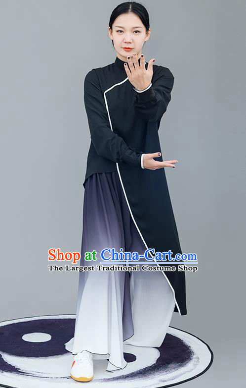 Chinese Traditional Tai Chi Training Black Costumes Martial Arts Performance Outfits for Women