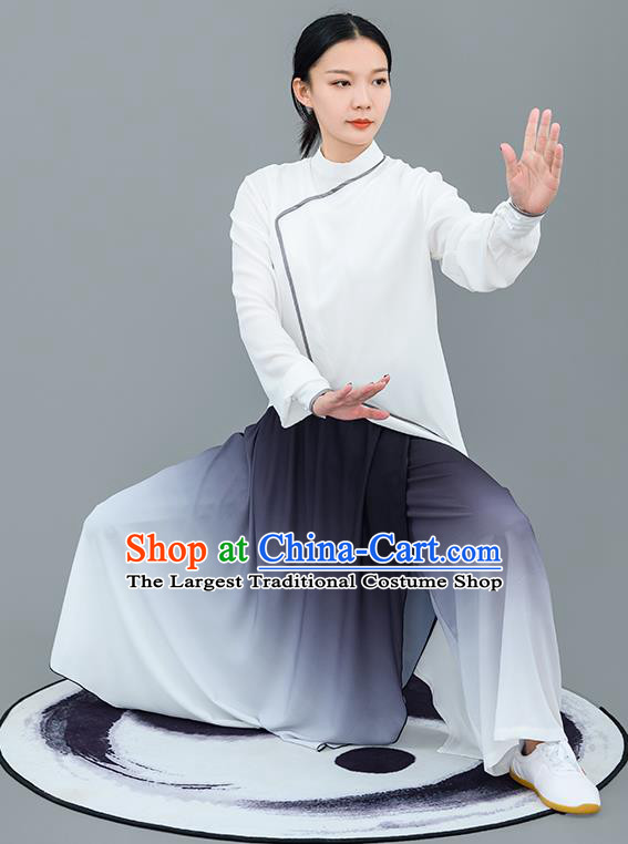 Chinese Traditional Tai Chi Training White Costumes Martial Arts Performance Outfits for Women