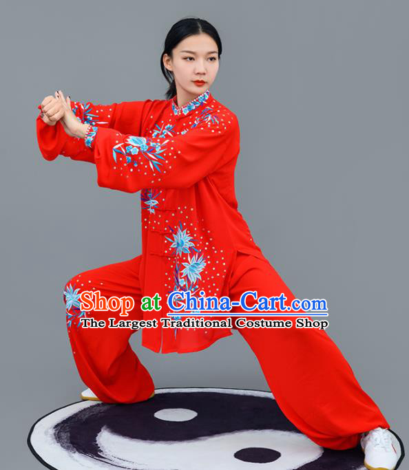 Chinese Traditional Tai Chi Training Embroidered Blue Flowers Costumes Martial Arts Performance Outfits for Women
