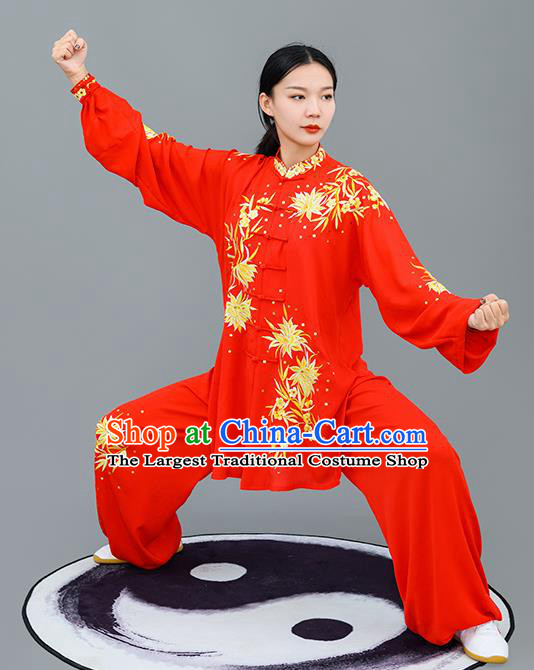 Chinese Traditional Tai Chi Training Embroidered Golden Flowers Costumes Martial Arts Performance Outfits for Women