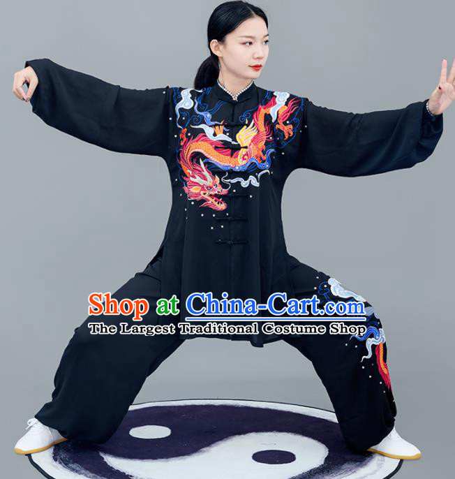 Chinese Traditional Tai Chi Training Embroidered Dragon Black Costumes Martial Arts Performance Outfits for Women