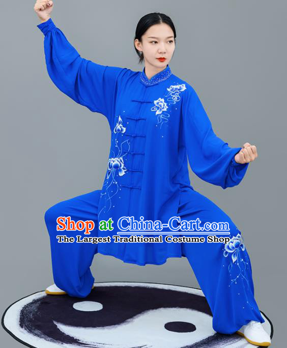Chinese Traditional Tai Chi Training Embroidered Lotus Royalblue Costumes Martial Arts Performance Outfits for Women