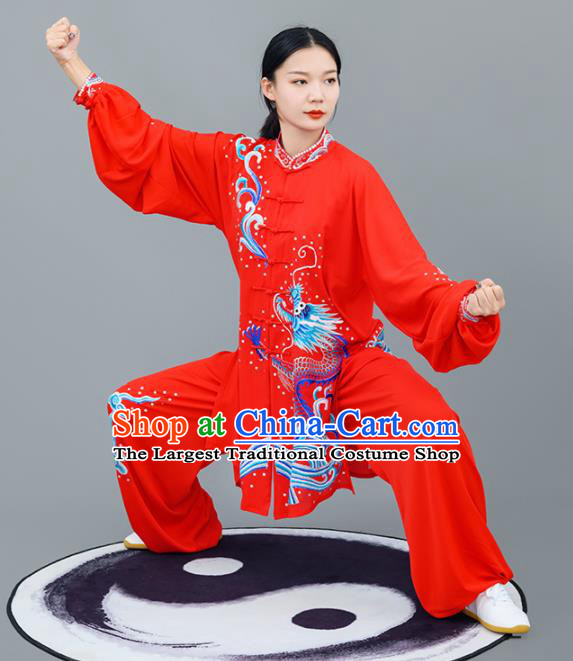 Chinese Traditional Tai Chi Training Embroidered Dragon Red Costumes Martial Arts Performance Outfits for Women