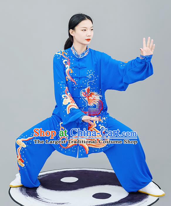 Chinese Traditional Tai Chi Training Embroidered Dragon Royalblue Costumes Martial Arts Performance Outfits for Women
