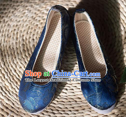 Asian Chinese Traditional Hanfu Royalblue Brocade Shoes Ancient Princess Shoes Handmade Shoes for Women