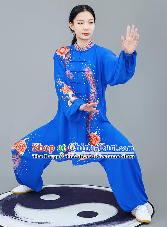 Chinese Traditional Tai Chi Training Embroidered Phoenix Peony Royalblue Costumes Martial Arts Performance Outfits for Women