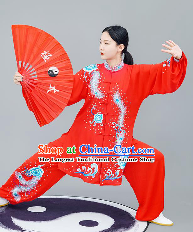 Chinese Traditional Tai Chi Training Embroidered Phoenix Peony Red Costumes Martial Arts Performance Outfits for Women