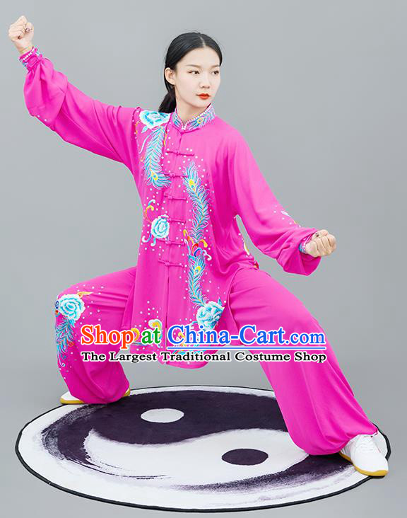 Chinese Traditional Tai Chi Training Embroidered Phoenix Peony Rosy Costumes Martial Arts Performance Outfits for Women