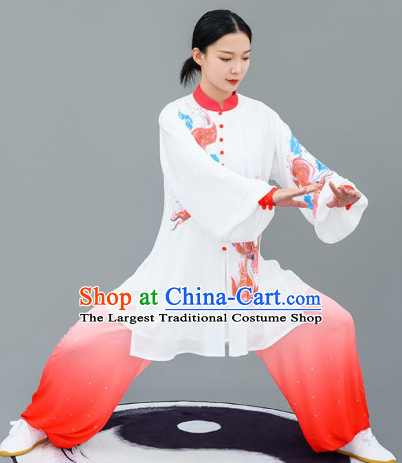 Chinese Traditional Tai Chi Training Printing Carps Costumes Martial Arts Performance Outfits for Women