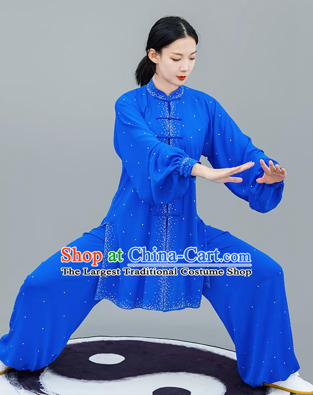 Chinese Traditional Tai Chi Training Royalblue Costumes Martial Arts Performance Outfits for Women